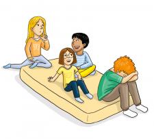 Zeichnung: Kinder auf einer Turnmatte.