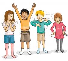 Zeichungen: Kinder stehen in einer Reihe und bewegen die Arme verschiedenartig.