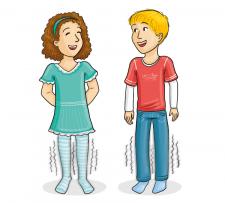 Zeichnung: Zwei Kinder lassen die Beine erzittern.