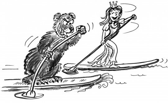 Comic: Ein Bär und eine Prinzessin paddeln auf je einem Brett.