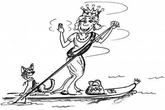 Comic: Eine Königin auf dem Brett stolziert über das Wasser und grüsst rundherum.