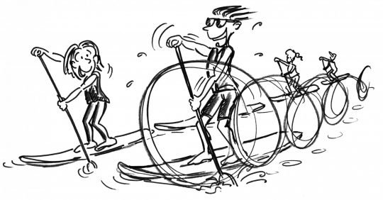 Comic: Zwei Paddler in einer Reihe werden von einem Kameraden überholt.