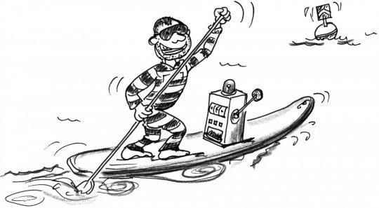 Comic: Ein Bandit paddelt mit einem Spielautomaten auf seinem Brett.