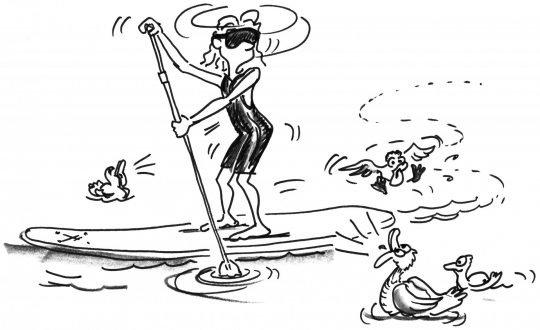 Comic: Ein Mädchen mit Augenbinde beim Paddeln ist von Enten umgeben.