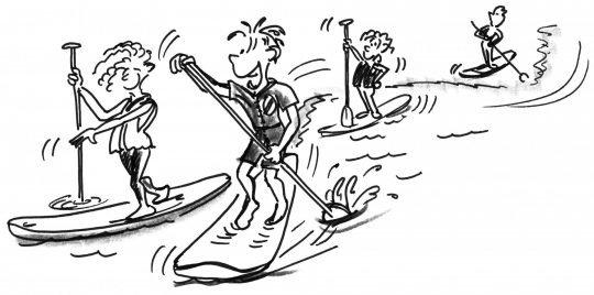 Comic: Ein Slalompaddler zwischen seinen Klassenkameraden.