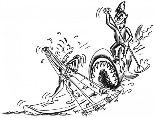 Zeichnung: Ein Paddler auf einem Brett, das wie ein Hai aussieht, verfolgt sein Opfer.