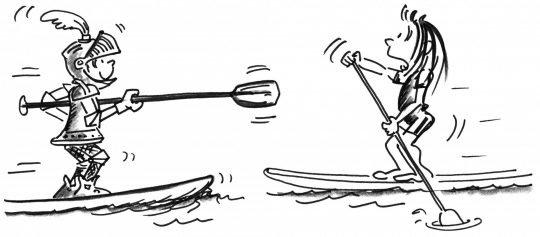 Comic: Ein als Ritter getarnter Paddler hebt sein Paddel auf einen Kameraden, der auf ihn zukommt.