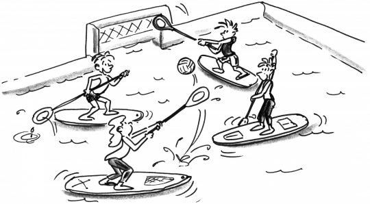 Ziehung: Zwei Teams spielen Polo mit ihren Paddeln.