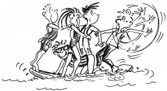 Dessin: cinq pagayeurs essaient de se maintenir en équilibre sur une planche.