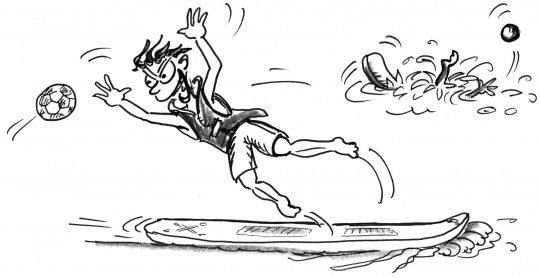 Comic: Ein Paddler springt von seinem Brett, um einen Ball zu fangen.