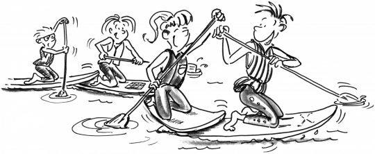 Comic: Vier Paddler in einer Reihe, der vordere Teil ihres Boards liegt auf dem hinteren Teil des Boards ihres Kameraden vor ihnen.