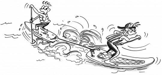Disegno: due partecipanti, con le tavole attaccate con una corda a poppa, pagaiano nella direzione opposta