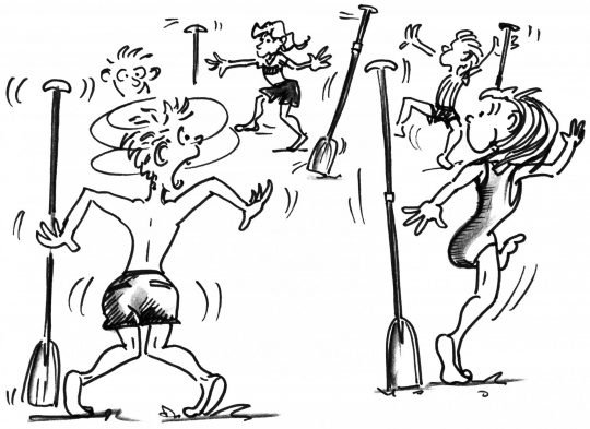 Comic: Vier Teilnehmer versuchen, das Paddel ihrer Nachbarn zu fangen.