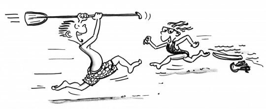 Comic: Zwei Kinder laufen, eins hält ein Paddel in der Hand.
