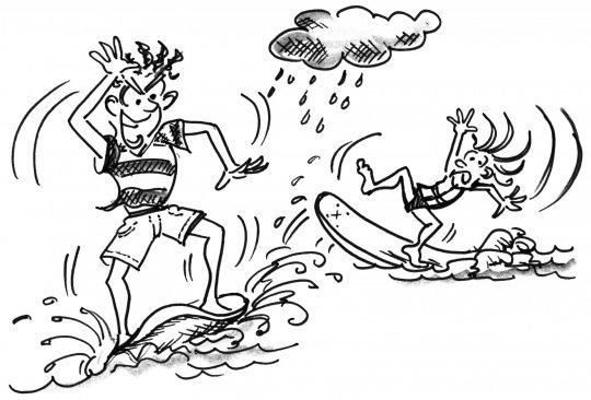 Ziehung: Zwei Teilnehmer rocken ihre Bretter, während sie versuchen, ihr Gleichgewicht zu halten.