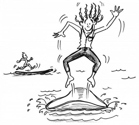 Comic: Ein Mädchen hüpft auf ihrem Brett und ein Junge läuft auf seinem Brett.