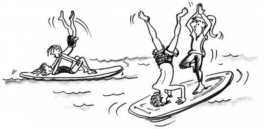 Comic: Kinder machen akrobatische Figuren auf dem SUP-Board.