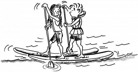 Comic: Zwei Stand Up Paddler bewegen sich auf zwei Brettern, je ein Fuss auf je einem Brett.