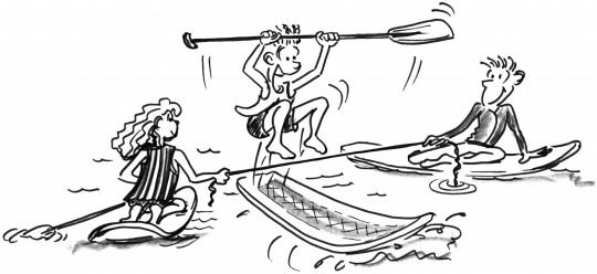 Zeichnung: Ein Kind springt auf seinem Brett über ein Seil, das von zwei weiteren Partnern gespannt wird.