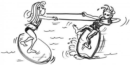 Comic: Auf je einem Brett stehend versuchen zwei Kinder, sich gegenseitig aus dem Gleichgewicht zu bringen.