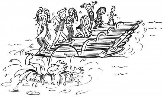 Comic: Ein Steg aus mehreren Boards, auf jedem steht ein Paddler, einer rennt darüber und springt ins Wasser.