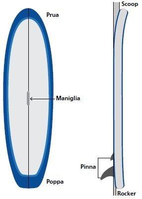 Illustrazione delle varie parti che compongono la tavola e la pagaia