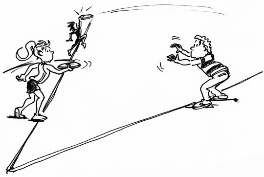 Dessin: des enfants se lancent un frisbee.