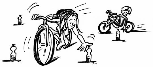 Dessin: des enfants ramassent des bouteilles à vélo.