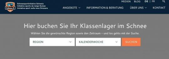 "Screeshot Lagerbuchung bei ""Go Snow"" - Schneesportinitiative Schwiez."
