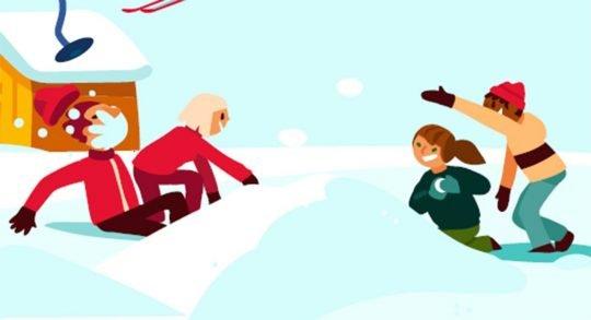 Comic: Kinder bei einer Schneeballschlacht