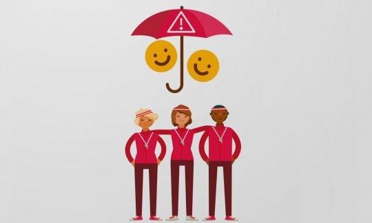 Dessin: trois moniteurs sont protégés par un parapluie.