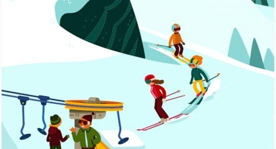Comic: sciatori che si avvicinano ad uno skilift, dipendenti dello skilift che chiacchierano con una donna.