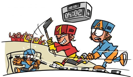 Dessin: des enfants jouent au hockey sur glace.