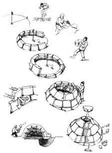 Le tappe della costruzione di un igloo.