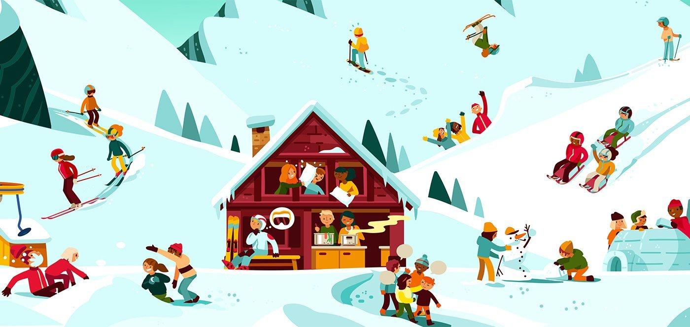 Comic: Skilagersituationen im Wimmelbildstil