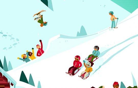 Dessin: des enfants pratiquent des activités physiques dans la neige.
