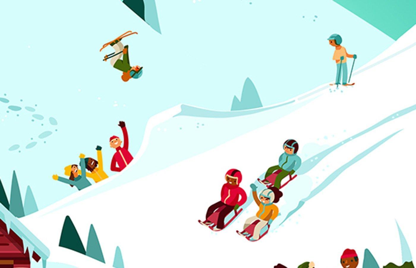 Comic: Verschiedene Aktiviäten auf dem Schnee.