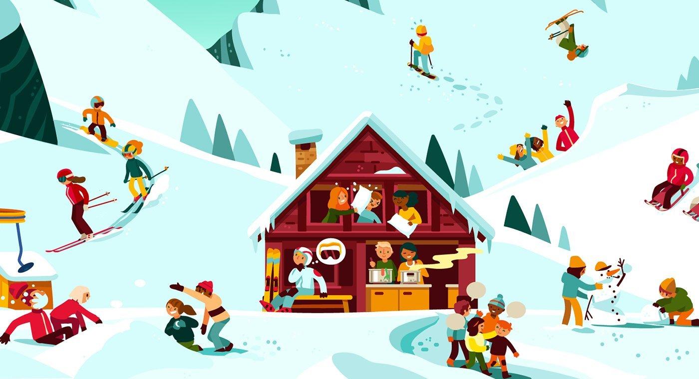 Dessin: Illustration d'un camp de ski avec un chalet et des enfants qui pratiquent différentes activités dans la neige.