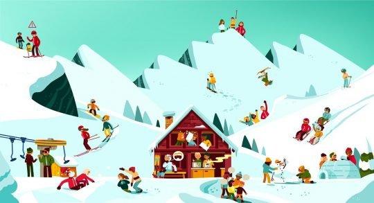Comic: Skilagersituationen im Wimmelbildstil.