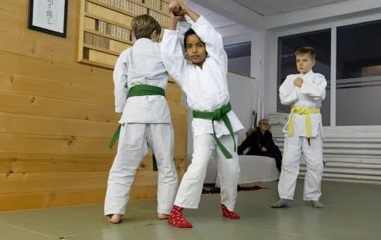 Deux enfants effectuent une prise d'aïkido sous les yeux d'un camarade.