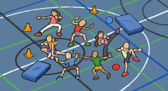 Comic: Das Ninja-Spiel in einem Turnhallensetting.