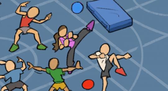 Comic: Schüler beim Bewegen in der Turnhalle.
