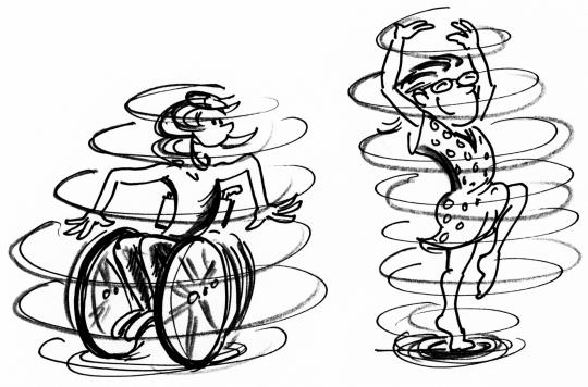 Comic: Zwei KInder machen Rotationen, eins davon sitzt im Rollstuhl.