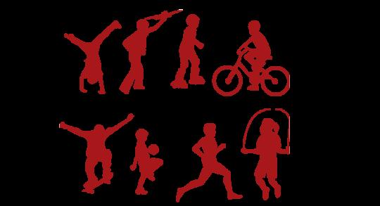 Dessin avec huit enfants pratiquant des activités physiques différentes.