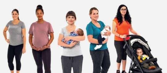 Photo de cinq femmes depuis la grossesse jusqu'à la période après l'accouchement.