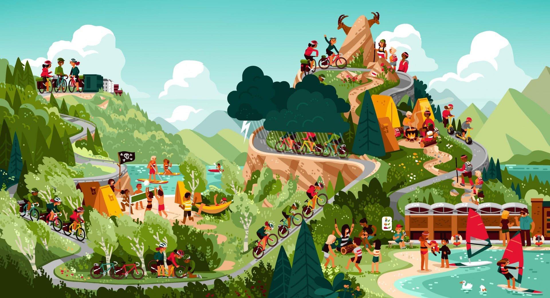 Wimmelbild: Szenen eines Sportlagers mit Bergen, See, Wald und Strassen.