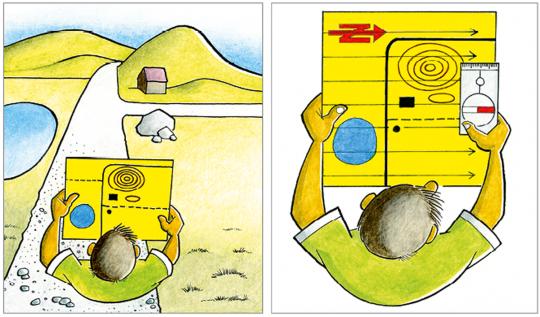 Due disegni di una cartina di corsa d'orientamento
