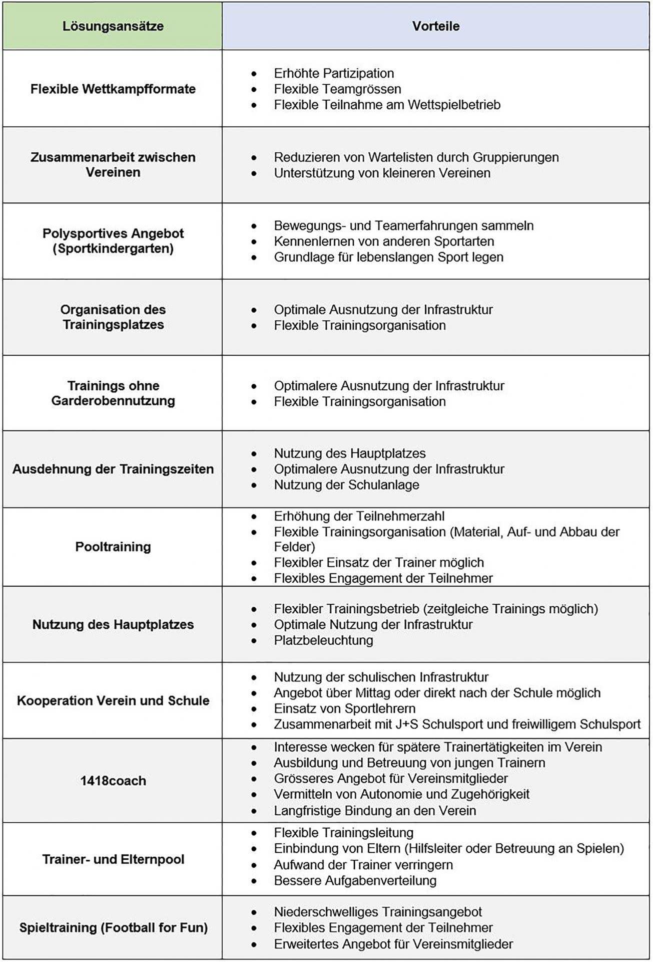 Tabelle: Lösungsansätze und ihre Vortiele.