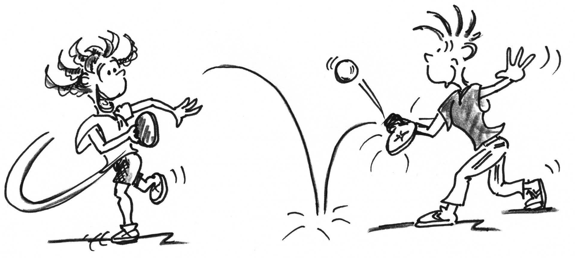 Comic: Zwei Figuren spielen Streetracket.