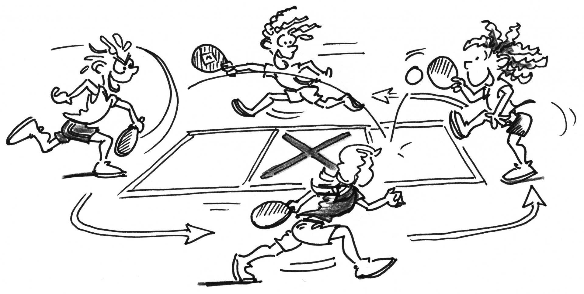Comic: Vier Figuren spielen Streetball im Kreis um ein Feld herum.